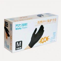 Egyszerhasználatos fekete vinyl kesztyű (méret M)