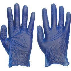 Egyszerhasználatos kék vinyl kesztyű (méret L)