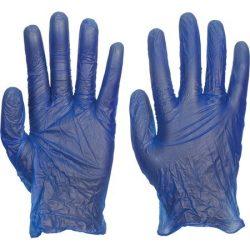 Egyszerhasználatos kék vinyl kesztyű (méret M)