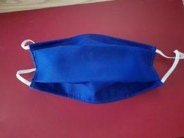 Kétrétegű kék varrott textilmaszk gumis