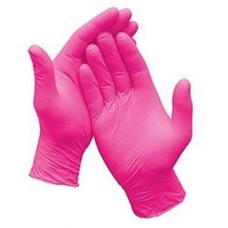 Egyszerhasználatos rózsaszín púdermentes nitril kesztyű (méret XS)