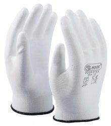 Fehér tenyéren mártott PU kesztyű (méret 6)